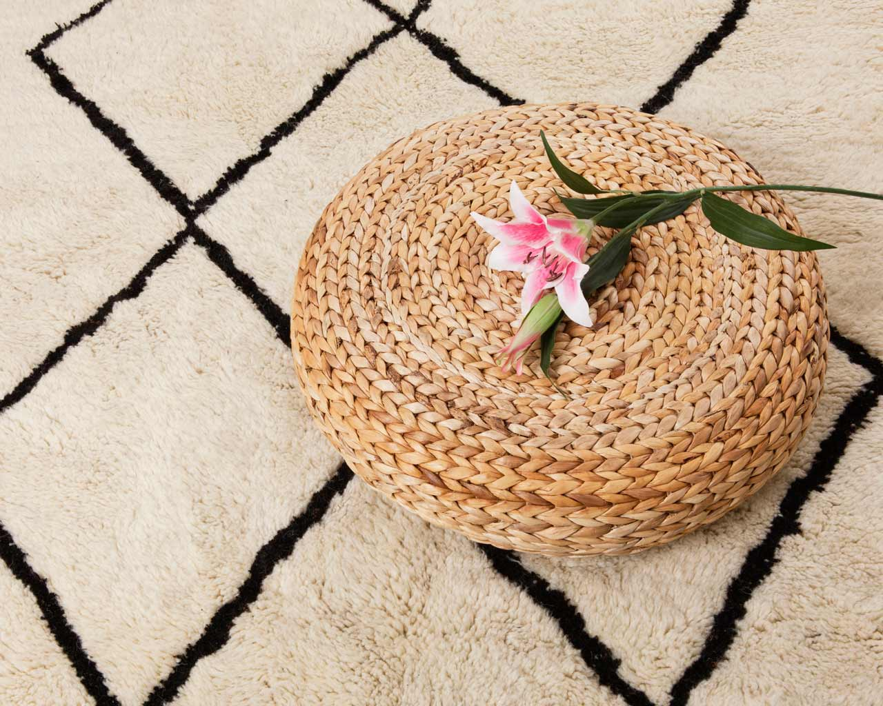 beni ourain rug flower natural wool