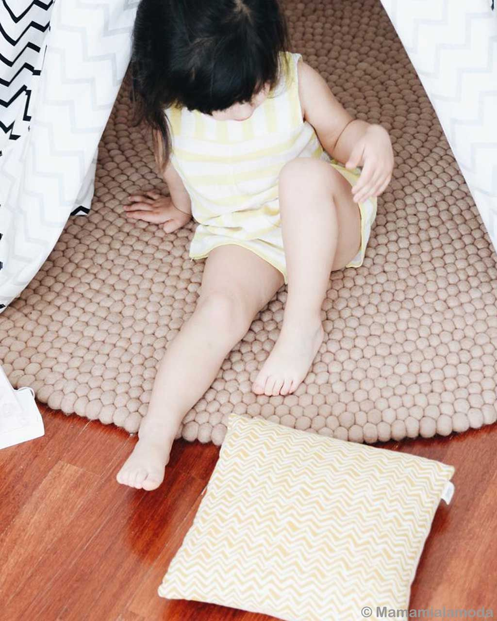 cute girl with black hair made by nepalian small rug