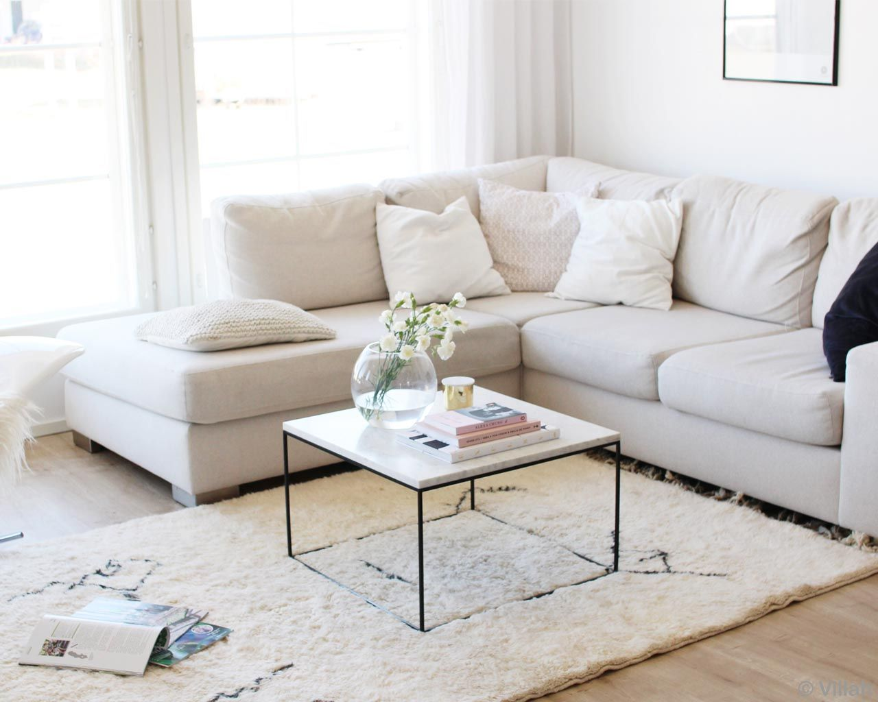 handmade white sofa with center table and magazine made in morocco contemporary colorful rugs
