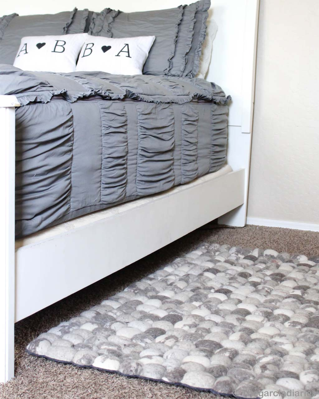 bed with gray mattress india felt ball rugs