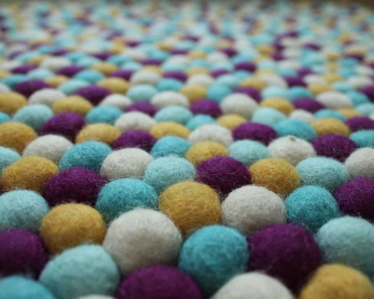 made in nepal fresh purple blue white and gold felt ball childrens rugs