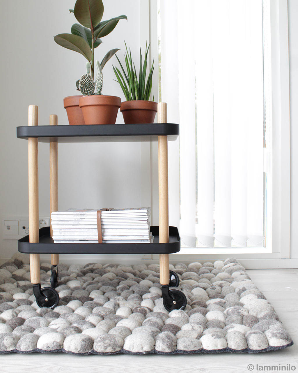 vase on trolly eastern contemporary gray white floral rug