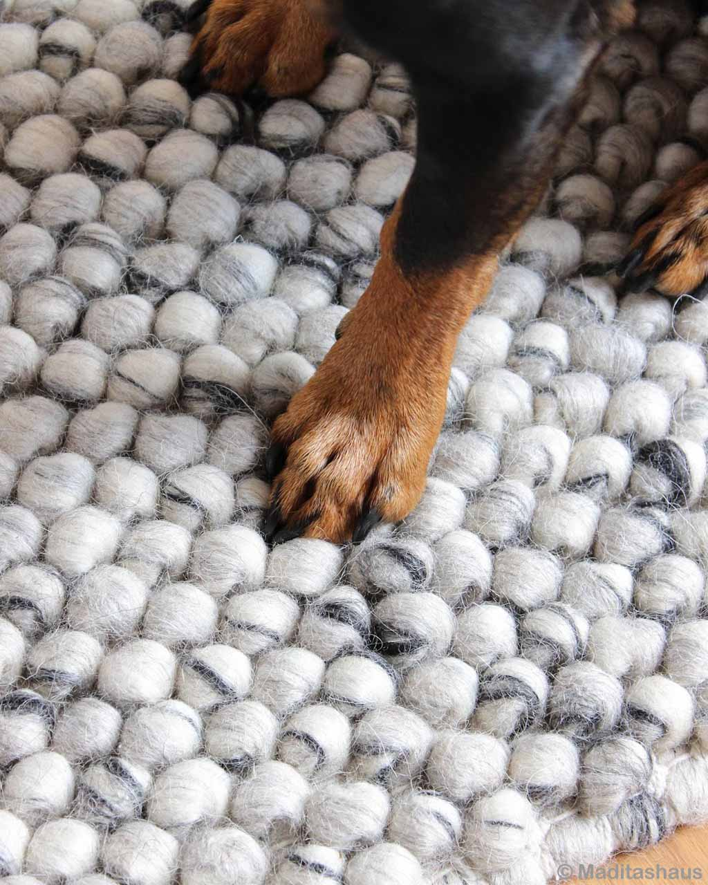 woolen brown and black dog asian contemporary white felt colorful rugs