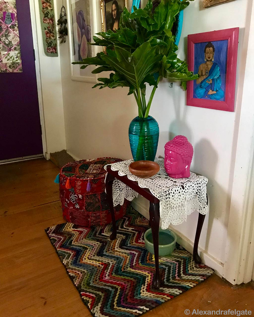 woolen budha statue and painting indian designer felt rugs