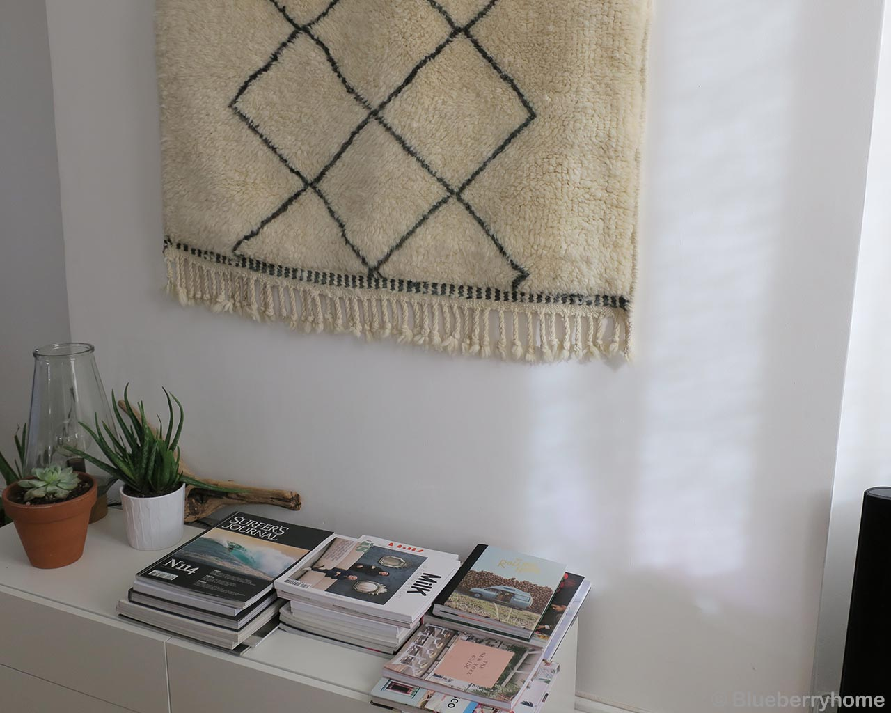 woolen pot and vase with green plants oriental beni ourain rugs