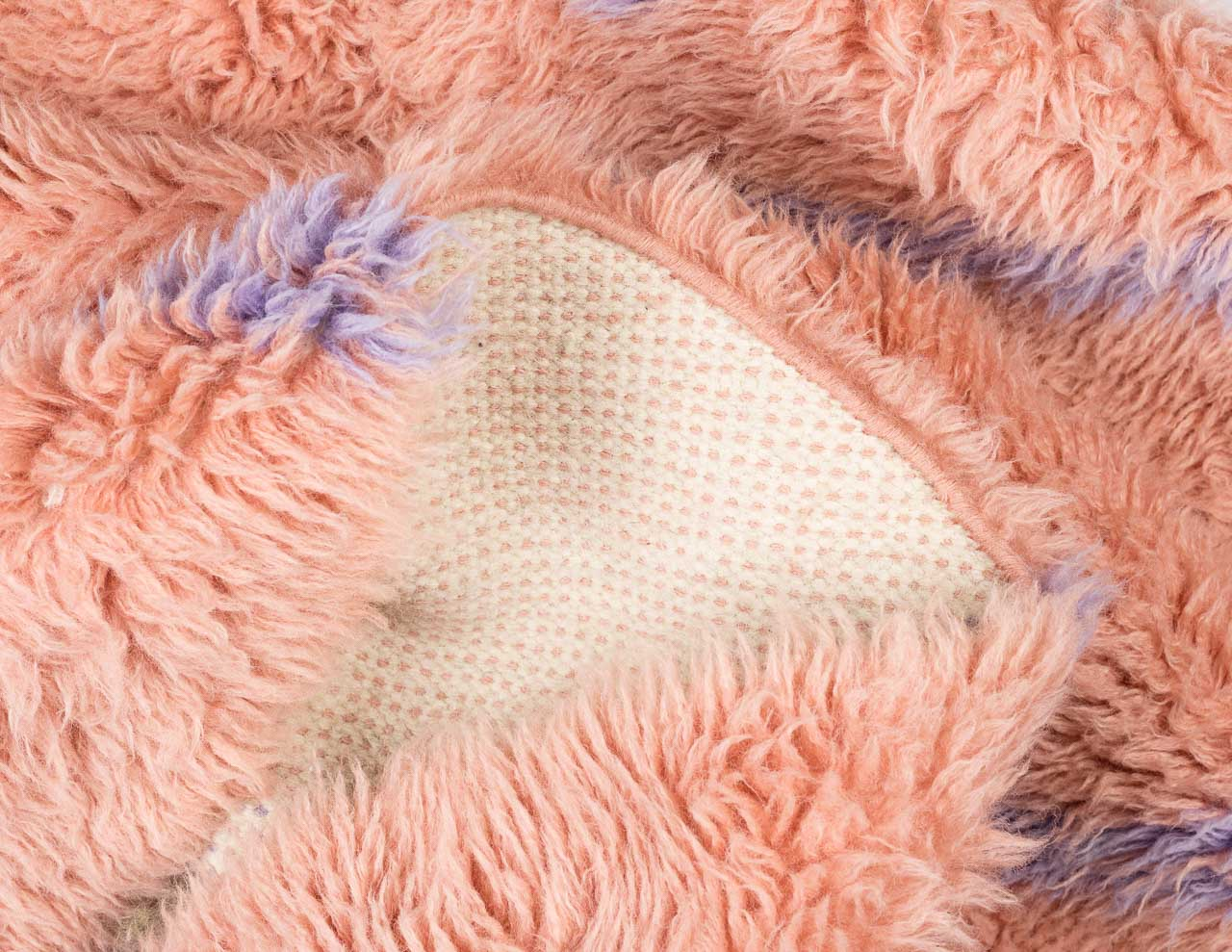 pink rug in feathery texture