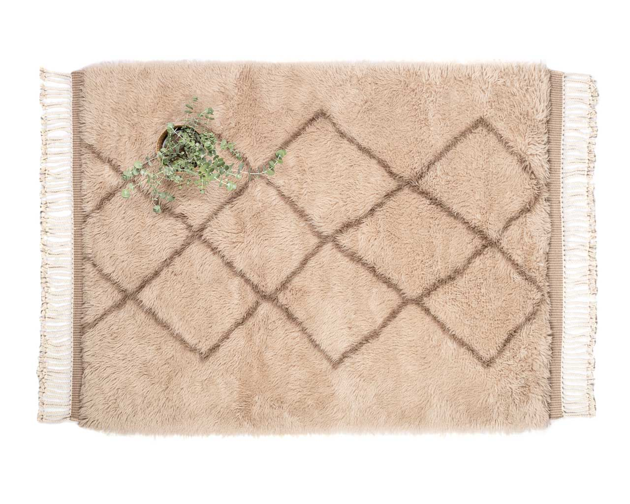 rectangular marro rug rhombus brown fringes for daily use