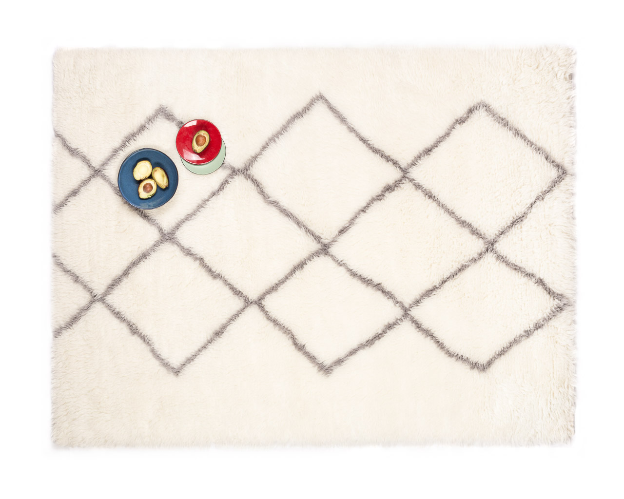 rectangular white rug with grey rhombus for home decor